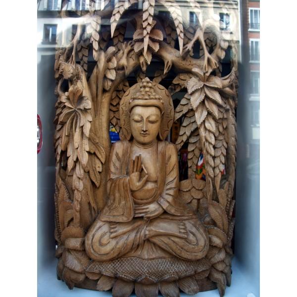 statue en bois de bouddha tibet village gallery. Black Bedroom Furniture Sets. Home Design Ideas